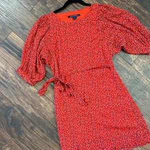 French Connection Red Floral Tie Waist Dress 4